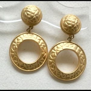 Givenchy Earrings Pebbled Gold Chandelier Hoops